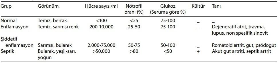 septik artrit sinoviyal sivi analizi