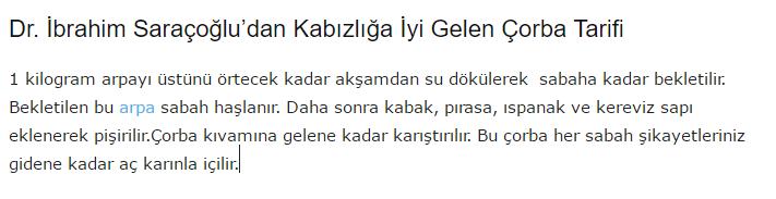 Dr. İbrahim Saraçoğlu'un Kabızlık için Önerdiği Tarif